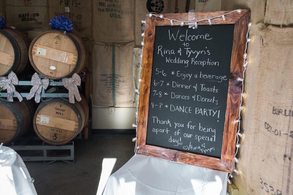 wedding schedule on chalkboard