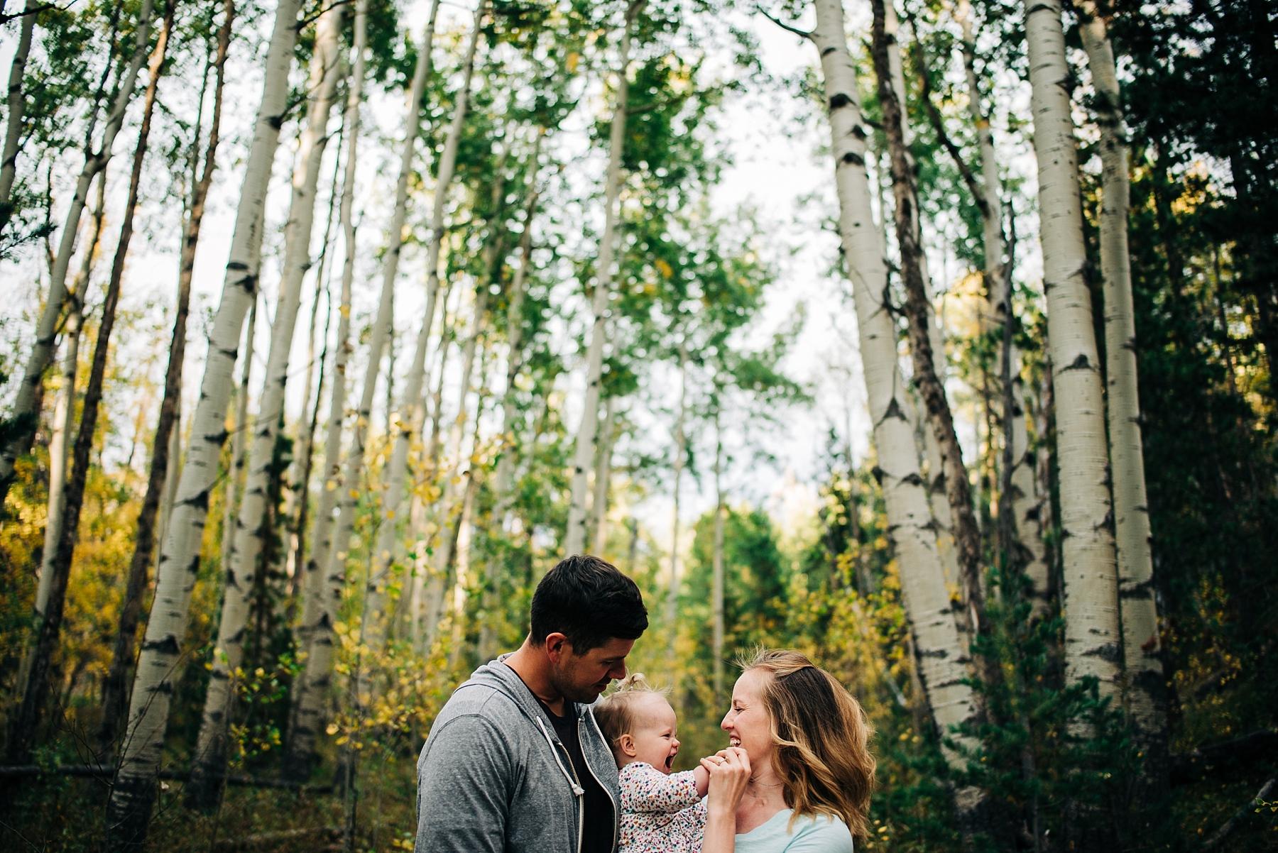Family in aspen grove