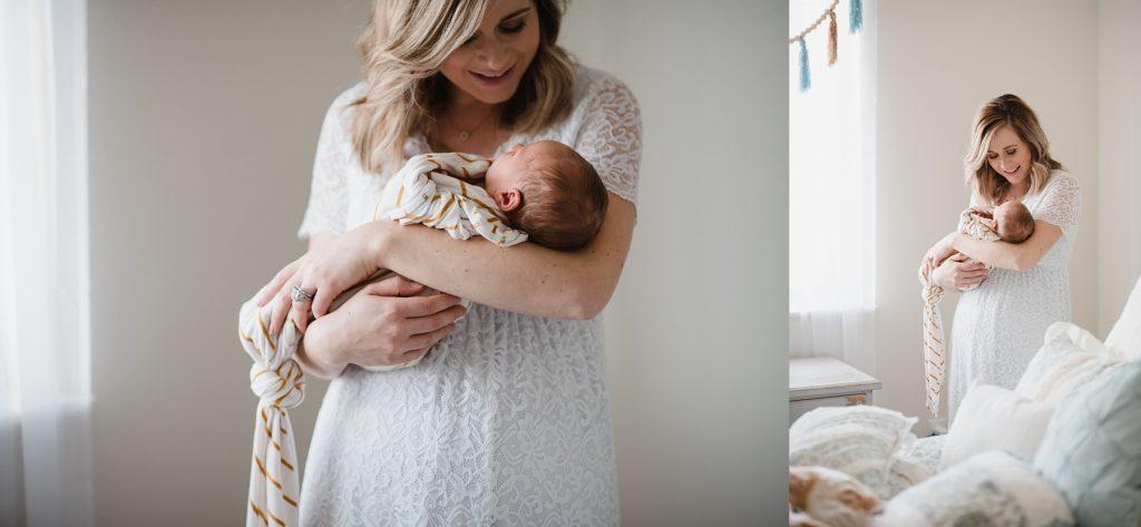 Mom holding Wyoming newborn in room