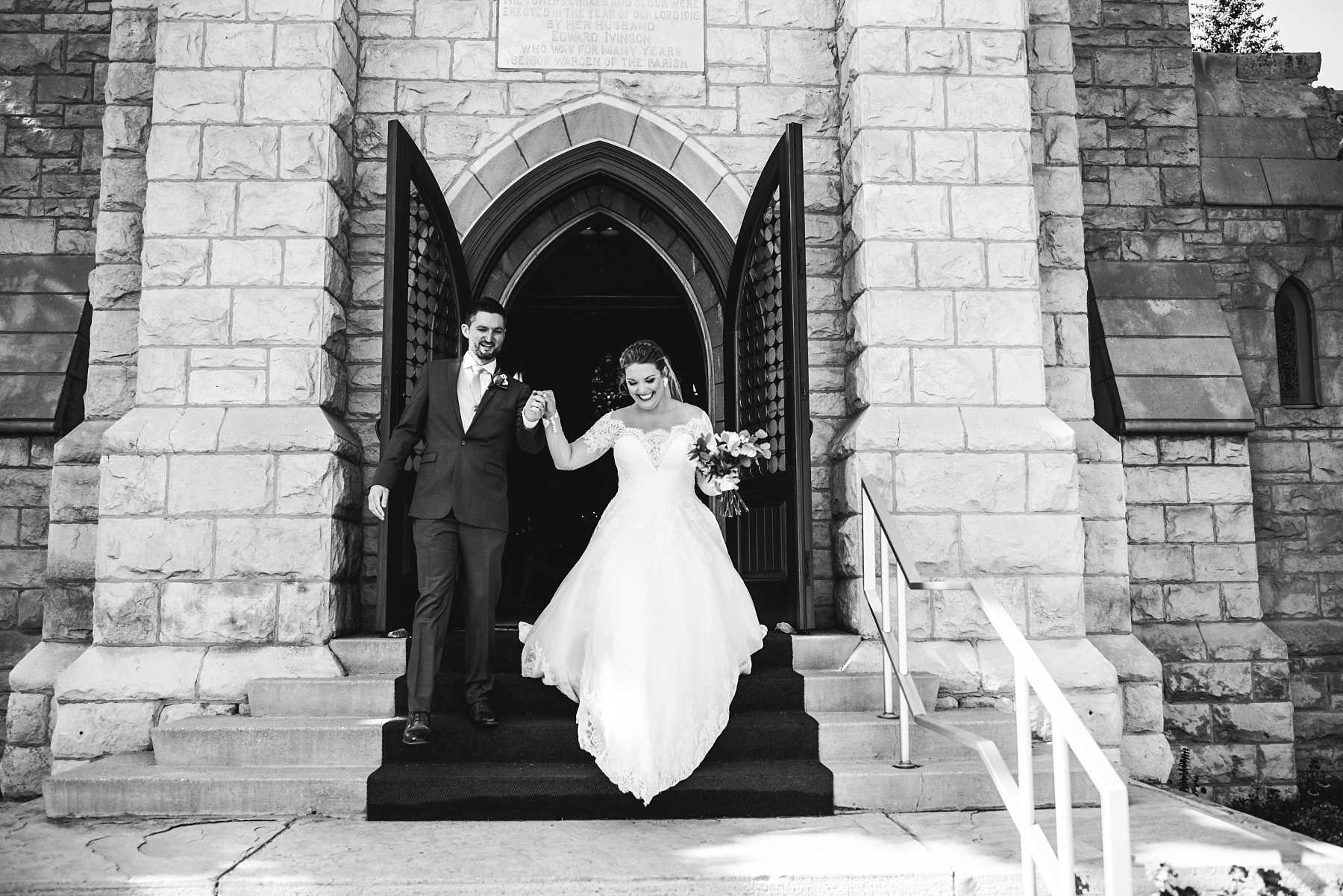 Bride and groom leaving church in Wyoming wedding