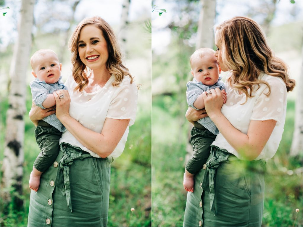 Mom holding baby.